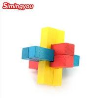 Simingyou Kids Game Wood Color Six Hole Ming Luban Lock Puzzle Toys Logic Game 3d En