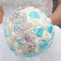 8 inch Blue & Beige Rose brooch bouquet handmade multicolor optional wedding bridal bouquets Holding flowers send groom corsages