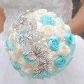 8 pulgadas Azul y Beige Rosa ramos de novia Que Sostiene las flores de la boda ramo broche hecho a mano multicolor opcional enviar novio ramilletes