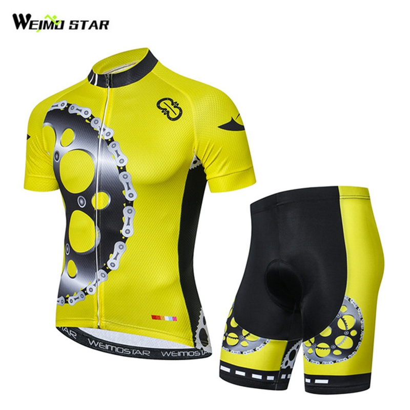 2018 Cycling Jersey shorts set Men Cycling Clothing bicycle Top Suit Ropa Ciclismo maillot blouse MTB Shirts Sports Yellow
