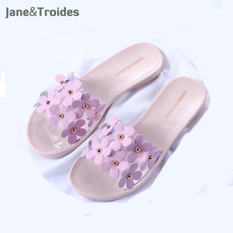 Fashion Women Slippers Summer Shoes Beach Large Flower Slip Slippers sandals Girls Flip Flops zapatos de mujer pantufas 2016 summer korean version of the large size flip flops women slippers with a simple slippery beach sandals