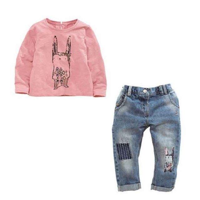 2017 new arrive Children's kids girls clothing sets autumn girls long-sleeve shirt + jeans 2 pcs children's girls clothes sets