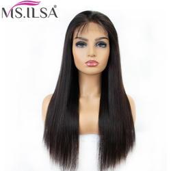 Прямые Синтетические волосы на кружеве парик человеческих волос парики для черный Для женщин предварительно сорвал 4 дюйма Волосы remy