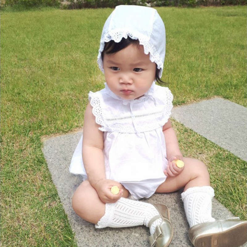 Infant Baby Peter Pan Collar White Rompers Ruffles Cotton Lace Jumpersuit Newborn Baby F ...