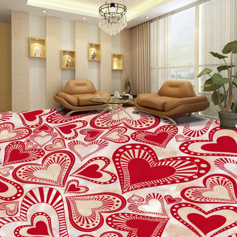 Free shipping custom self-adhesive home decoration floor Romantic Red Living Room Bedroom hotel 3D Floor wallpaper mural free shipping custom floor home decoration self adhesive mural baby room wallpaper jade roses parquet 3d lotus flooring