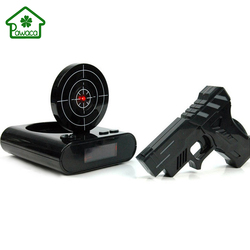 1Set Novelty LCD Gun Alarm Clock with Recording Function Funny Infrared Target Shooting Game Toy Home Desk Decoration Props Gift