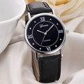 Los Hombres de moda Banda de Cuero de Cuarzo Analógico Reloj de Pulsera Señoras Reloj de Ginebra Reloj de Las Mujeres Relojes Montre Femme Venta Caliente Feida