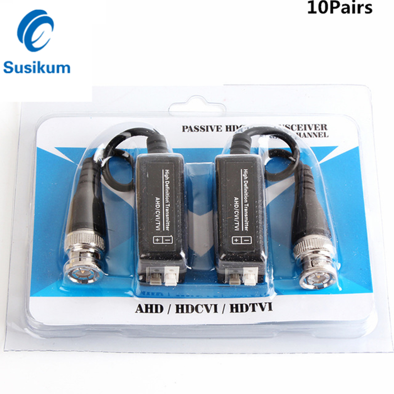 10Pairs 20Pieces BNC To UTP Cat5/5e/6 Video Balun HD Transceivers Adapter Transmitter Support 720P/1080P AHD CVI TVI Camera 100M
