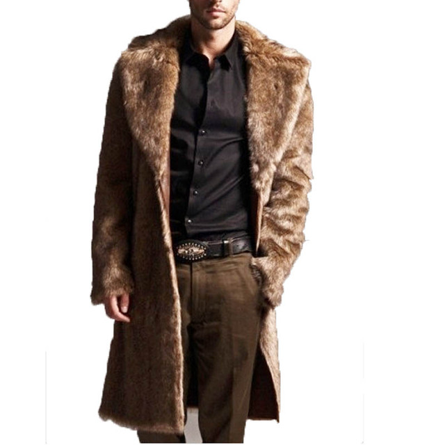 Mens Faux Fur Coats Long Trench Coat Fur Collar Leather Suede Jacket
