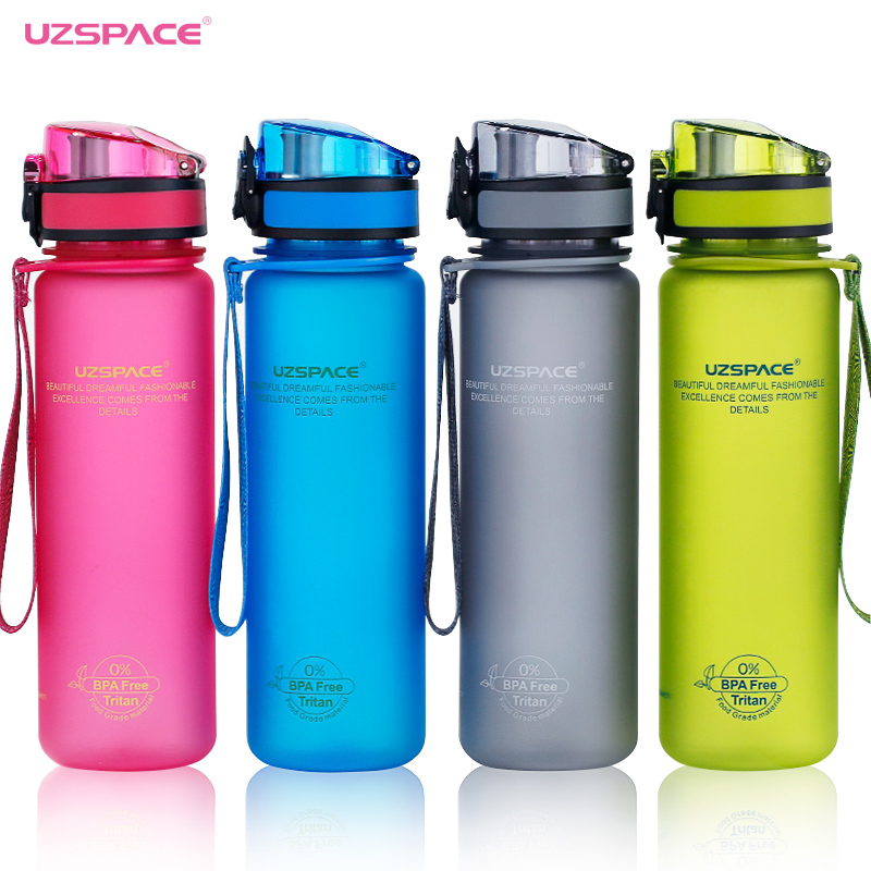 UZSPACE Sport Water Bottles Shaker Leakproof Camping Hiking Drink Bottle for water 500/1000ml Tritan Plastic Drinkware BPA Free