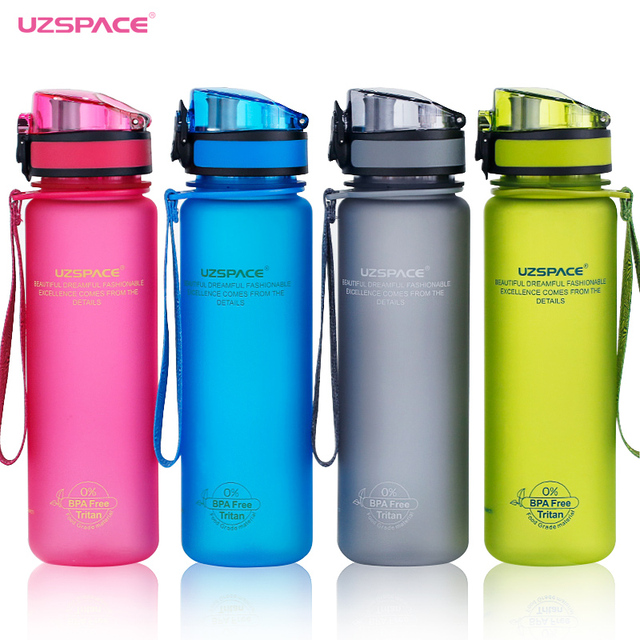 Uzspace Sports Water Bottles Tritan Material Drinkware Protein Shaker Camping Hiking Plastic Bottle for water 350ml 500ml 1000ml