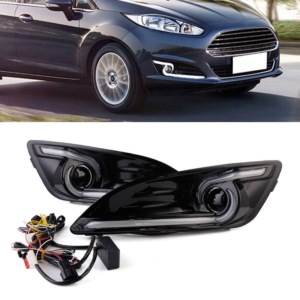 Auto LED DRL Car Daytime Running Light & Yellow Turn Signal Day Light For Ford Fiesta 2013-2016 цена