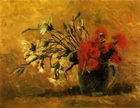 Modern reproduction oil painting by Van Gogh Vase with Red and White Carnations on a Yellow Background wall pictures No Frame