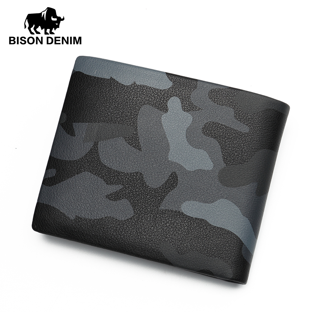 BISON DENIM Leather Wallet Men Camouflage Color Mini Purse Male Genuine Leather Cowskin Wallets Card Holder Cash Purses N4430