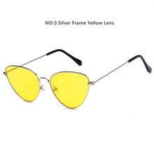 5ec7e28911a4c Óculos De Metal Gato Olho Sunglasse Mulheres Triângulo caleidoscópio Lente  Cateyes Óculos Feminino óculos de Sol Amarelo Preto R..