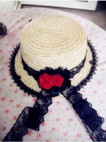 Принцесса классический лолита готическая лолита Старинные готы черного кружева красные розы Соломы с плоской вершиной шляпа Леди шляпа леди солнце шляпа