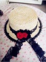 קלאסי נסיכה לוליטה לוליטה גותית הגותים בציר תחרה שחורה אדום ורדים קש מגבעת שטוחה כובע גברת אצילת שמש כובע
