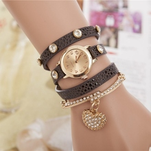 Full Rhinestone Lychee Heart Pendant watch Fashion Long Leather Metal Bracelet Women Watches Shine Quartz Wristwatch
