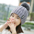 Winter Hat Ladies warm knitted with wool ball B letter wool hat ladies fashion hair ball hat