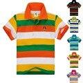 De calidad superior de los niños ropa infantil chicos camiseta de verano de algodón a rayas de manga corta para 2 3 4 5 6 7 8 9 10 11 12 13 14 años