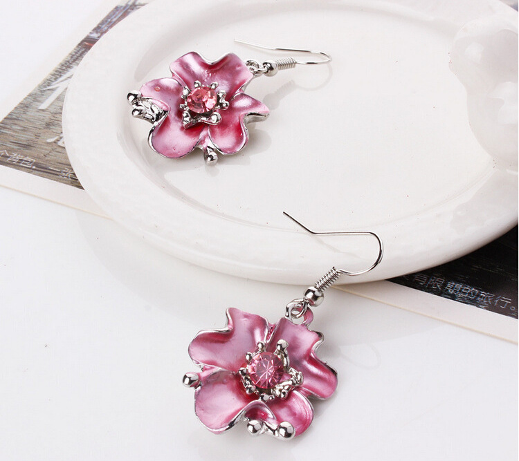 77a3f10f5ba33 US $3.16 25% OFF|Bohemia Fashion Women Costume Jewelry sets Pink Crystal  Enamel Flower Pendant Necklace Earrings French Romantic Party Jewelry-in ...
