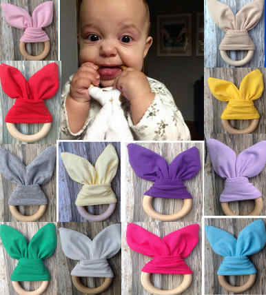 Telinga Kelinci Teether Kain Teether, Kain dan Kayu Teething Ring dengan Crinkle Bahan