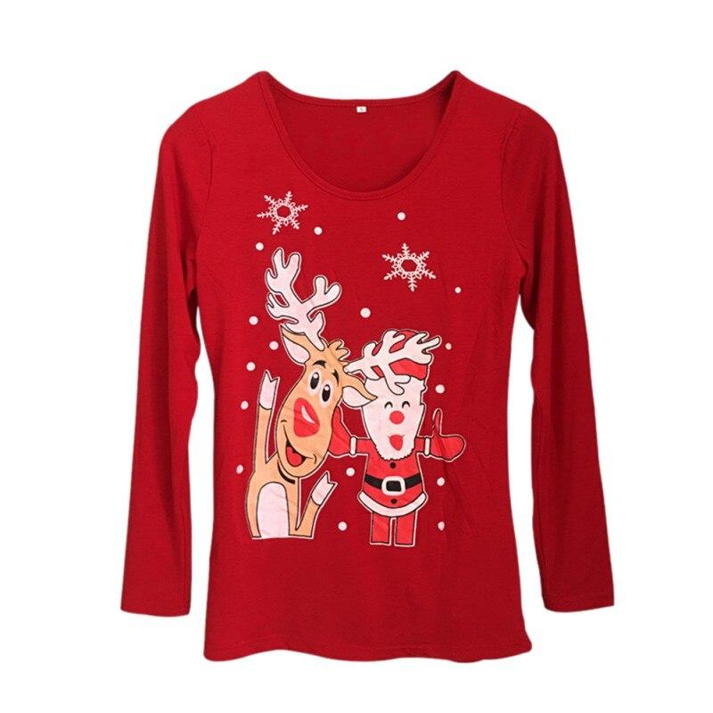 O-Neck Shirt Top Tees Press Standard Tee T-shirts Character Cute Appliques England Style Long Sleeves Christmas Printed T Shirt