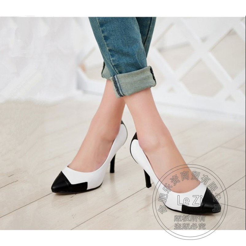 ФОТО Slip On Pointed Toe High Heels Footwear Pumps Stilletos Dress For Women Two Tone Large Code Shoes