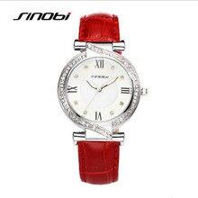 SINOB Mujeres de la Marca de Moda de Lujo Rhinestone Casual Watch Reloj de Cuero Del Cuarzo de Las Señoras Impermeable Reloj Relogio Feminino 9501