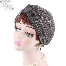 Fashion Women India sequins caps Muslim Cancer Chemo Beanie Hair Loss Turban Wrap wedding party Cap 5pcs/pack