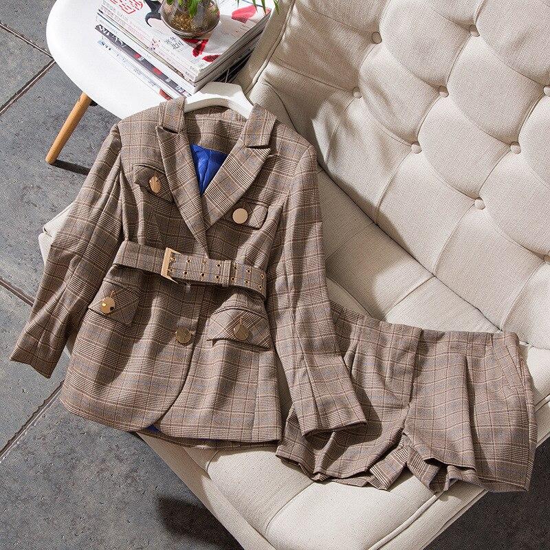 Plus Size Casual Two Piece Set Women Suits Winter Autumn 2018 Suit Set Plaid Top and Short Pants 2 Piece Set Elegant Suit Set in Women 39 s Sets from Women 39 s Clothing