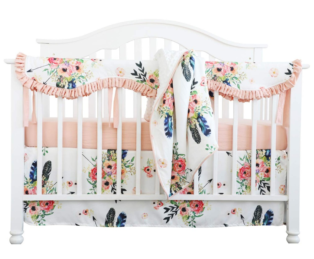 Sahaler Crib Rail Guard Set Boho Floral Nursery Baby ...