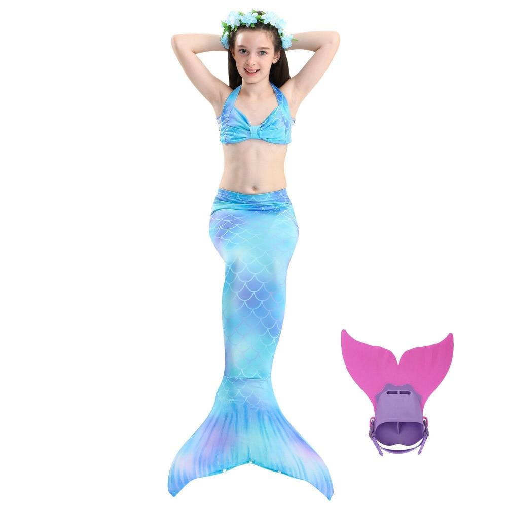 New Kids Girls Bikini Mermaid Tail Monofin Swimmable Blue Swimwear beachwear Children Cosplay Costume Swimsuit Beach Photo