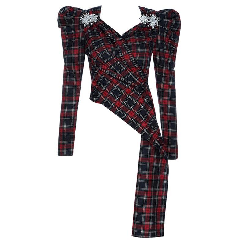 2019 shirt Gewickelt Ankunft Frauen Beateen Red Langarm Top Neue Vintage Asymmetrische Stilvolle T Verziert V Neck Cropped Rot Überprüfen 53AjL4R
