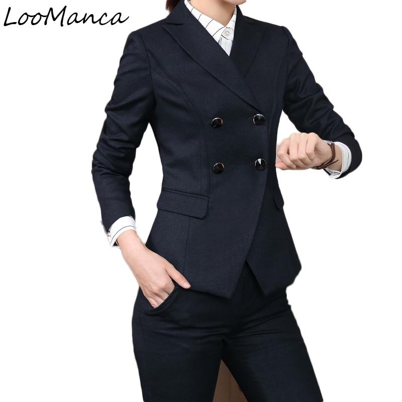 Autumn winter work wear women jacket OL fashion uniform formal blazer with pant set plus size elegant office business suit