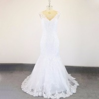 Индивидуальный заказ с прозрачной тюлевой спиной халат mariée V шеи Кружева Русалка свадебное платье