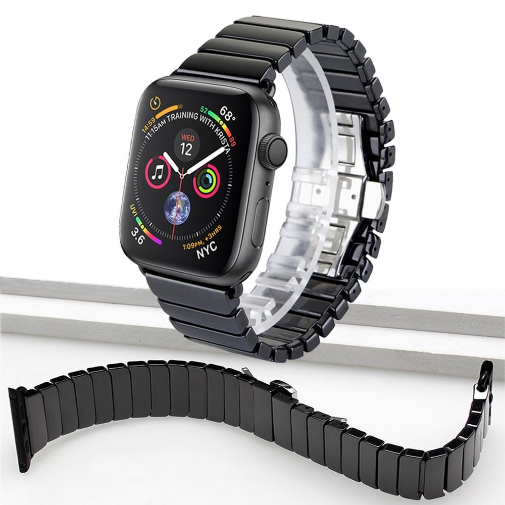 Cinturino in ceramica Per Apple Watch Band 44mm 40mm 42mm 38mm iwatch serie 4 3 2 1 farfalla Anello wristband del Braccialetto di Collegamento cinturini