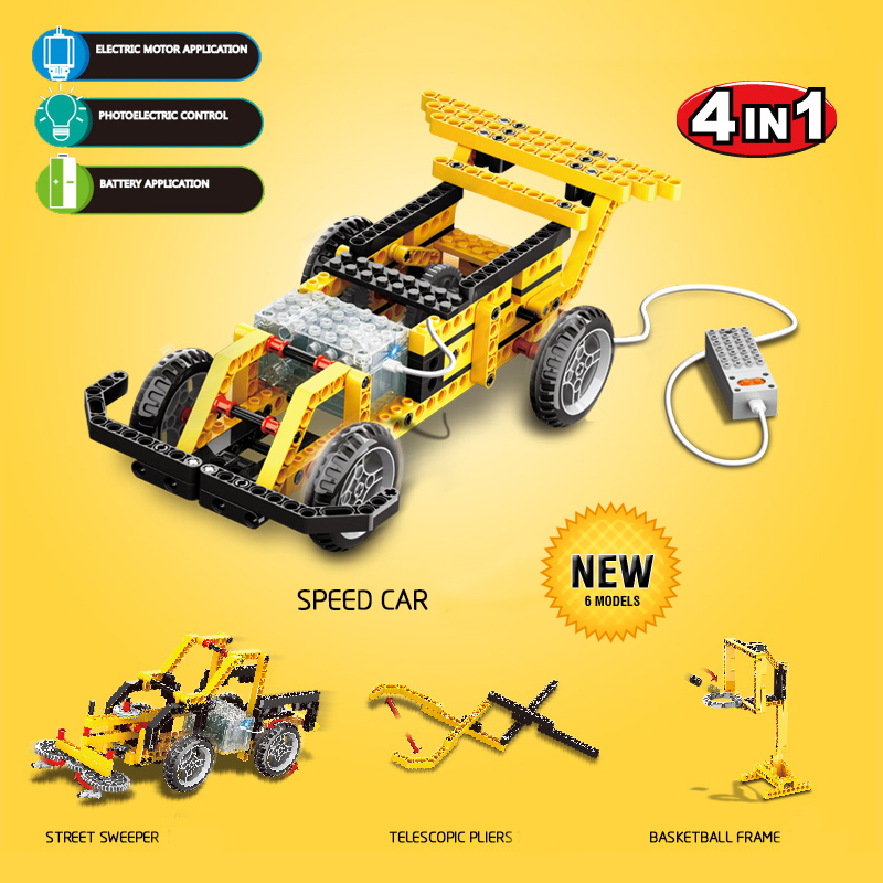 Wange Power Machinery 4in1 Building Blocks Technic Educational Toys Electric Motor Car Kids Toy Bricks Compatible with lepin