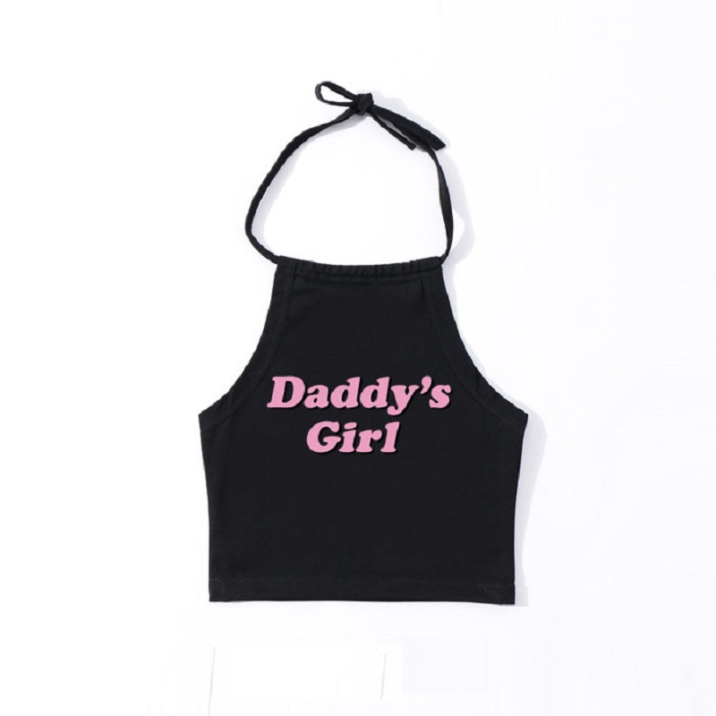 Sexy Lolita Kawaii Cotton Short Crop   Tops   Cute Pink Letters Daddy'S Girl Sleeveless   Tank     Top   Women Summer Funny Tumblr