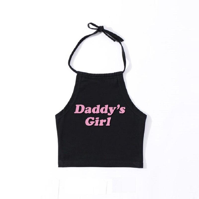 Sexy Lolita Kawaii Cotton Short Crop Tops Cute Pink Letters DaddyS Girl Sleeveless Tank Top Women Summer Funny Tumblr