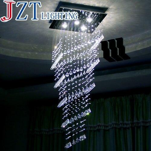 М Прямоугольная GU10 роскошная хрустальная Подвесная Лампа Холодный/теплый белый свет LED Хрустальная двойная лестница зал вилла длинная хрус