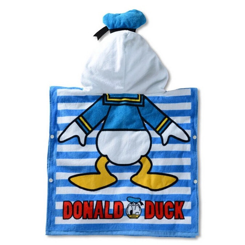 Disney Cotton Donald Duck Baby Girls Boys Hooded Towel Cloak Absorbent Bathrobe Toddler Baby Bath Towel Cloak Beach Towel 60x120