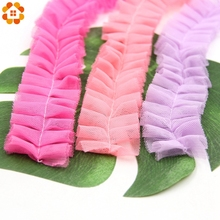 New 5Yard/Lot 4CM Chiffon Tape Ribbon Pleated Lace Trim Patchwork Material DIY Sewing&Headwear Accessories Decoration