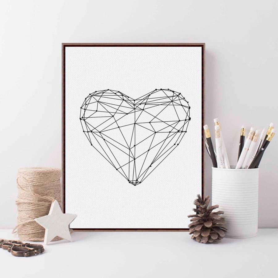 Geometry Heart Love Poster Black and White Star Canvas Painting Wall Pictures For Living Room Nordic Quote Decoration Home Art in Painting Calligraphy from Home Garden