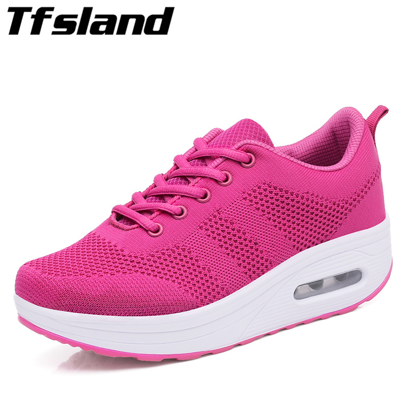 New Womens Flying Woven Shaking Swing Shoes Women Height Increasing Shoes Lightweight Air Cushion Wedges Walking Shoes Sneakers
