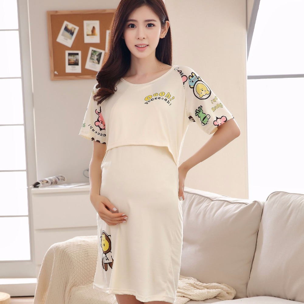Summer Maternity Breastfeeding Clothes Nightgowns For Nursing Mothers Breast Feeding Nightdress Pregnancy Maternity Night Dress