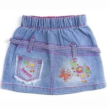 Kid girl  childrens jean skirts bow trims and special pocket denim skirt Free shipping! 2014 (MHNS2)