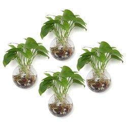 T4U ściany wiszące sadzarka wiszące szklana doniczka wazon Terrarium Ball kształt maceta bonsai jasne bańki sadzarka uchwyt do wieszania roślin w Doniczki i skrzynki do kwiatów od Dom i ogród na