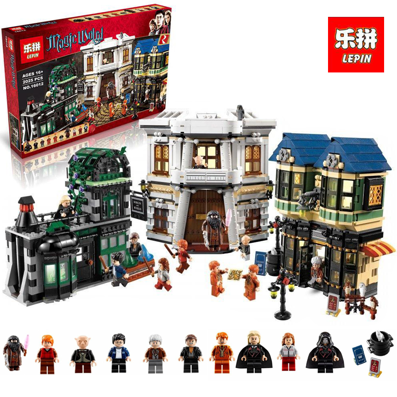 In stock Lepin 16012 DHL Movie Series The 10217 Diagon Alley Set Model Building Bricks Blocks Toys Kids Christmas legoING Gifts dhl lepin 07060 1969pcs classic movie series building blocks bricks for education toys 7111
