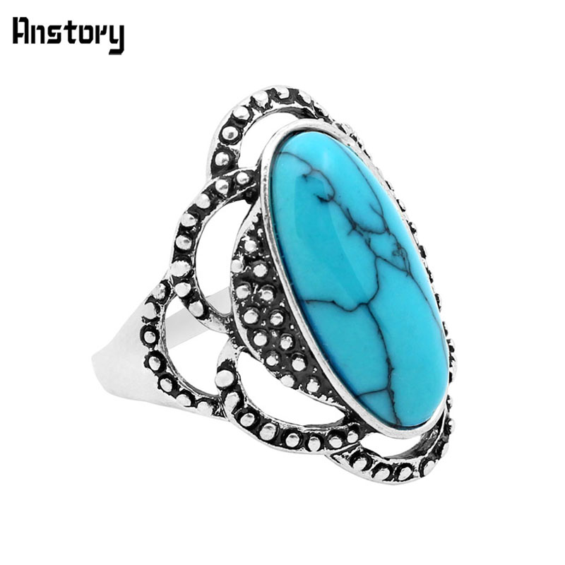 Fashion Jewelry Tibetan Alloy Antique Silver Plated Flower Oval Stone Rings R091